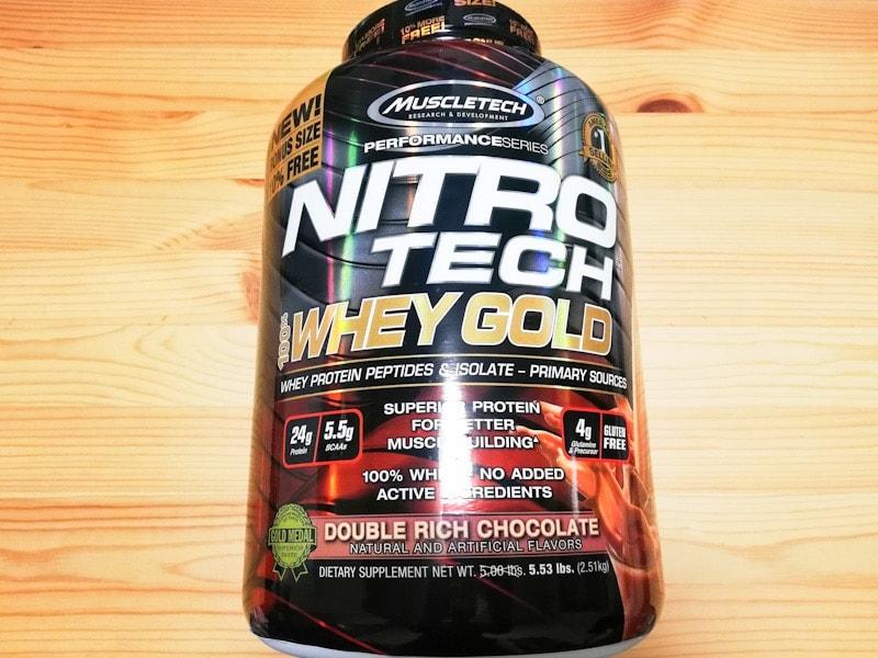 muscle tech Nitro tech 100% whey gold ダブルリッチリョコレート味の外観