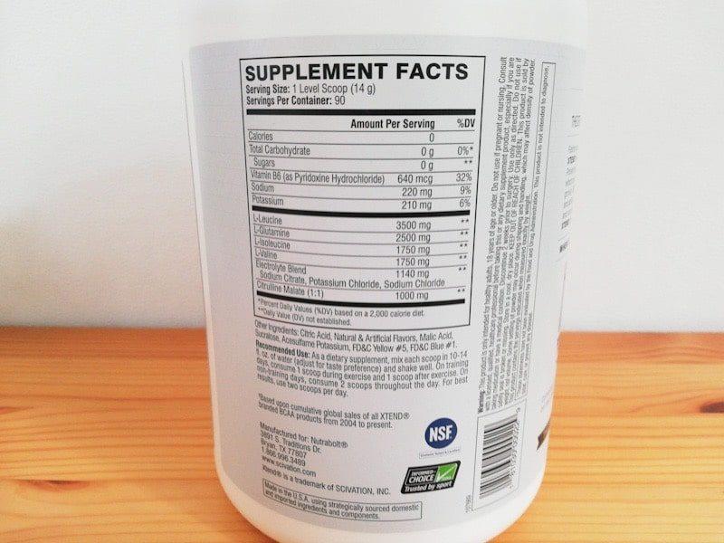 xtendのBCAAsのレモンライム味の成分