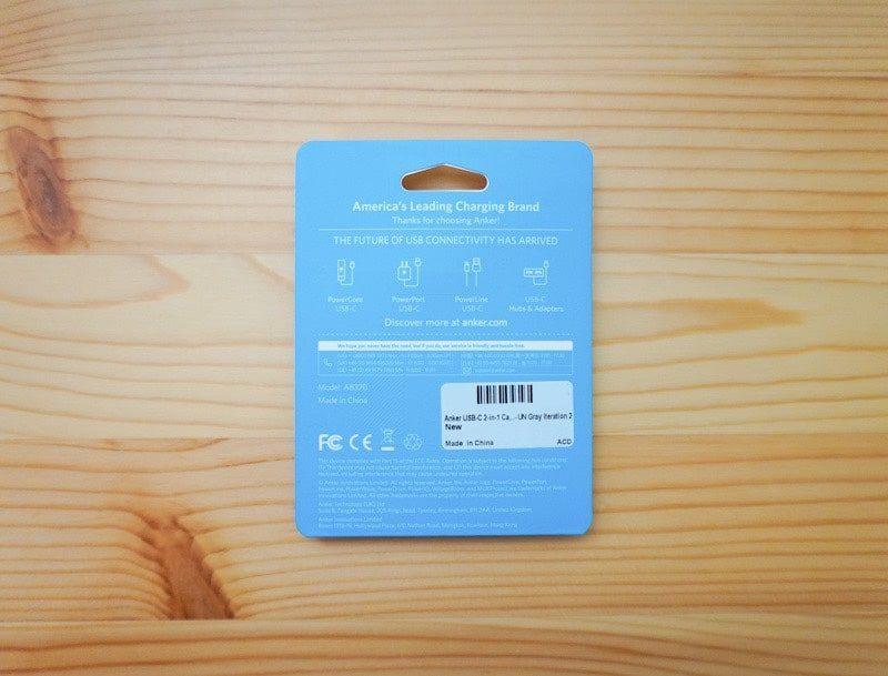 Anker USB-C 2-in-1 カードリーダーのパッケージ裏
