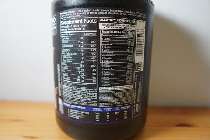 ALLMAX ALL WHEY classic チョコレート味栄養詳細