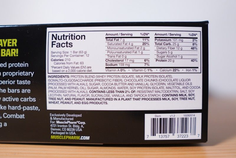 MusclePharmコンバットクランチチョコレートチップクッキー生地の成分