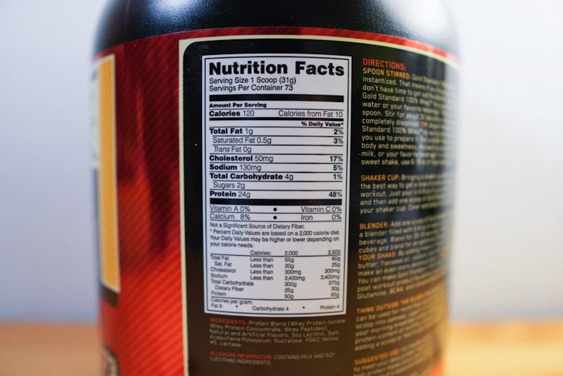 Optimum Nutrition ゴールドスタンダードバナナクリーム味の成分